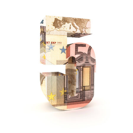 eur: Number 5 made from euro bills isolated on white background Stock Photo
