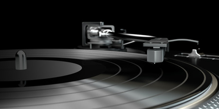 Turntable - djs vinyl player with a vinyl disk on it  photo