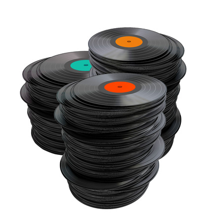 Stack of vinyl records isolated on a white background  Stock Photo