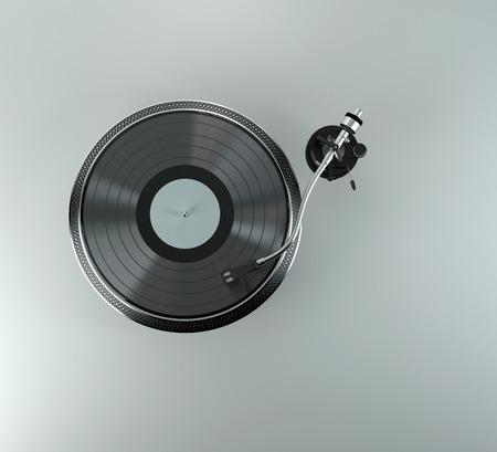 턴테이블 - 그것에 빨간 비닐 디스크와 DJ의 비닐 플레이어 스톡 콘텐츠
