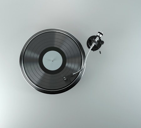 Turntable - dj's vinyl player with a red vinyl disk on it