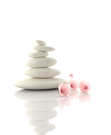 Zen concept with cherry blossom and black stones Stock Photo