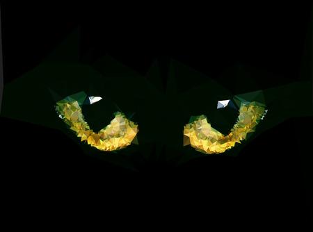 Triangle polygonal black cat eyes  illustration Illustration