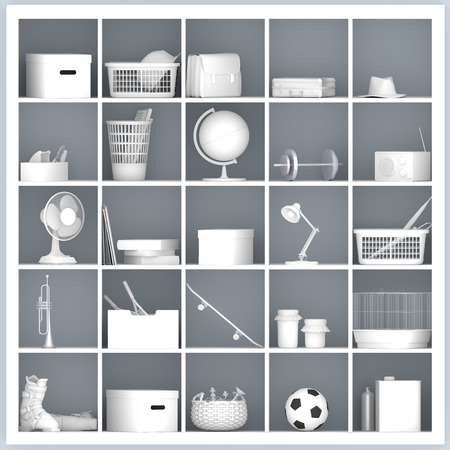 white drawers and shelves with different home related objects photo