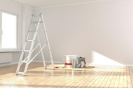홈 개선  사다리, 페인트 수 및 페인트 롤러 스톡 콘텐츠
