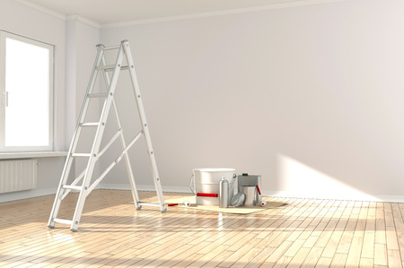 RENOVATE: Home Improvement  ladder, paint can and paint roller Stock Photo