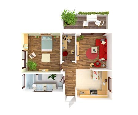 planen: Draufsicht auf eine Wohnung: Küche, Esszimmer, Wohnzimmer, Schlafzimmer, Diele, Bad. Lizenzfreie Bilder