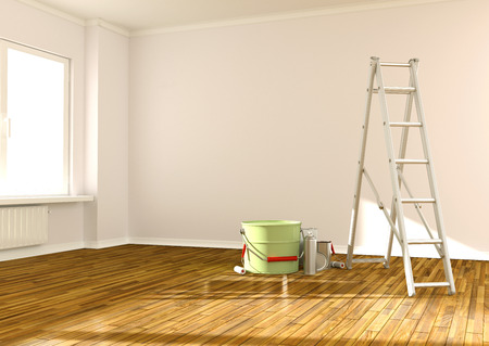 buckets: Home Improvement  ladder, paint can and paint roller Stock Photo