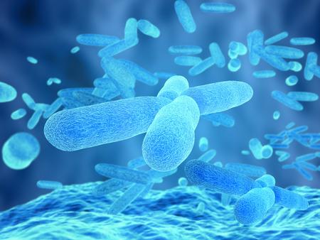 바이러스 및 박테리아 세포의 3D 렌더링