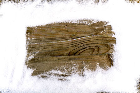 snow drift: Snow drift on old Wood Boards with Blank Space
