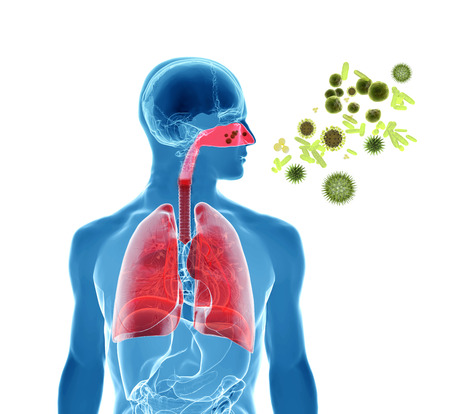 gripe: Ilustración de la representación 3d de polen, virus o infección de la gripe