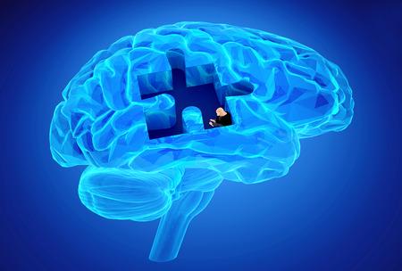 Lidský mozek výzkum a ztráta paměti jako symbol Alzheimerovy