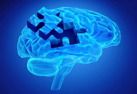 알츠하이머의 상징으로 인간의 두뇌 연구와 기억 상실