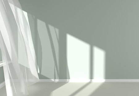 Empty room with sunlight shining through a window and the curtains developed by a wind Archivio Fotografico