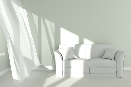 Room with sunlight shining through a window and the curtains developed by a wind Standard-Bild