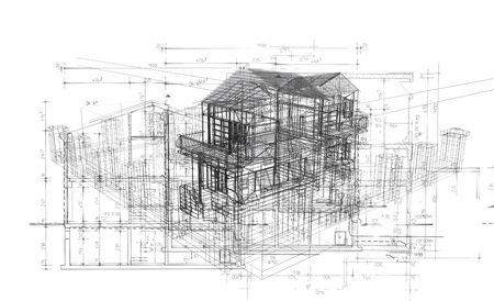 floorplan: 3d Illustration of building, House Plan