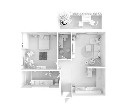 vysoký úhel pohledu: Půdorys bytu: Kuchyň, Jídelna, Living, ložnice, předsíň, koupelna.