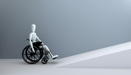 wheelchair access: Problems of people with disabilities 3D rendering
