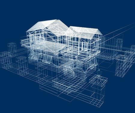 3d Illustration of building, House Plan