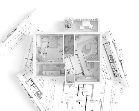 overhead view: Plan view of an apartment:  Kitchen, Dining, Living, Bedroom, Hall, Bathroom.
