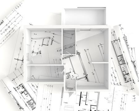 アパートの平面図: キッチン、ダイニング、リビング、ベッドルーム、ホール、バスルーム。