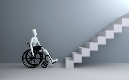 on ramp: Problems of people with disabilities 3D rendering