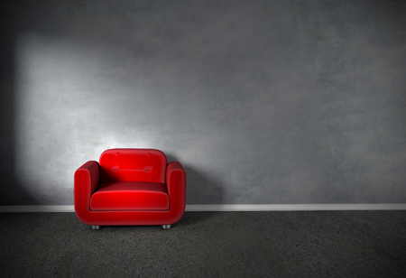 living room sofa: dark vintage concrete wall Background with red Armchair Stock Photo
