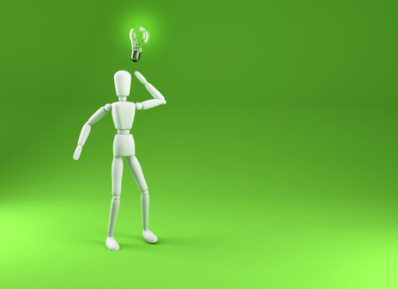 eureka: 3d render illustration of person with a light bulb. Eureka  Thginking Concept