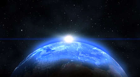 the blue planet: Blue Planet earth with sunrise in the space