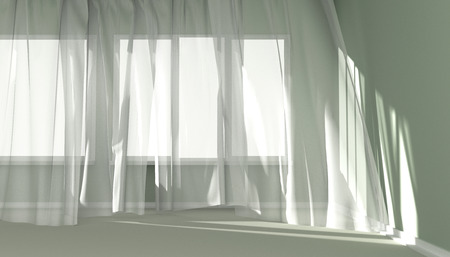 viento: Sitio vacío con la luz del sol brillando a través de una ventana y las cortinas elaboradas por el viento