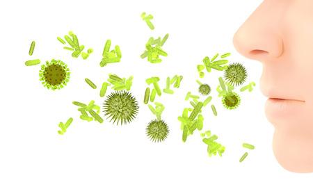 3d rendering illustration of pollen virus or influenza infection