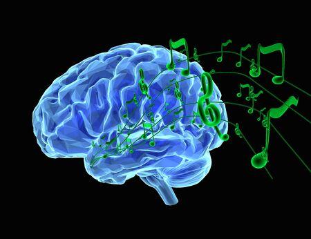 3d render illustration comment la musique affecte le cerveau