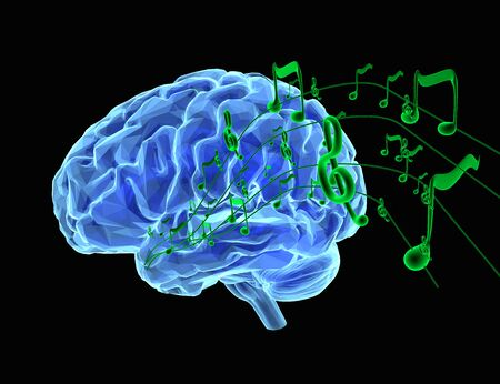 brain: 3d render illustration how music affects the brain