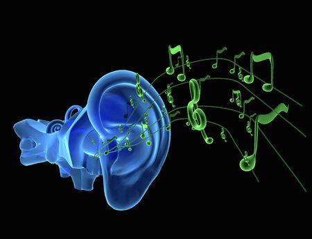 Ilustración 3D de la anatomía del oído con las notas musicales que viene Foto de archivo
