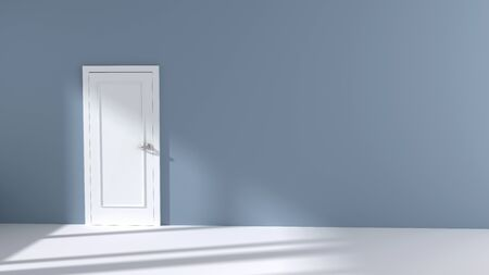 white door: Wall with white door and  sunlight shining through a window- 3D Illustration Stock Photo