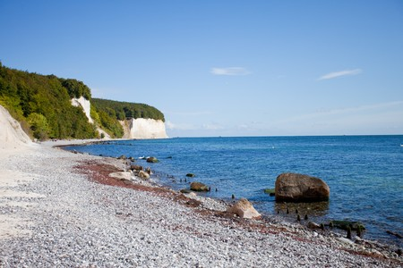 Coast line of the famous chalk cliffs upon the german island Rügen