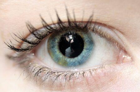 cilia: Reflection of a photographer inside a female eyeball