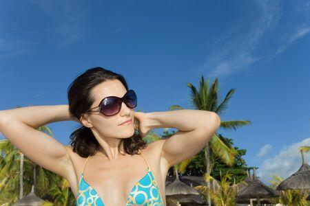 Woman at the beach Mauritius Stock Photo