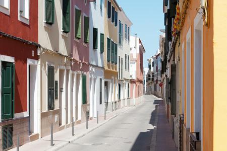 Colorful houses of Mao Minorca Spain