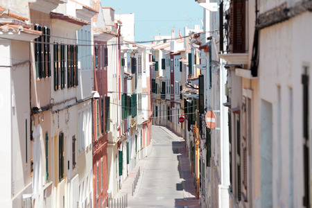 Streets of Mao Minorca in Spain Stock Photo