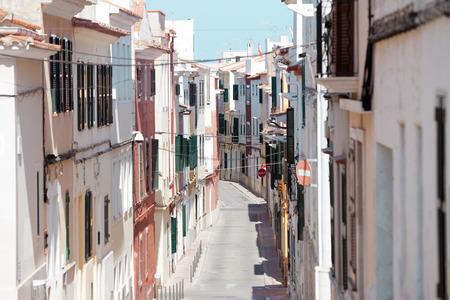 Streets of Mao Minorca in Spain Stock Photo