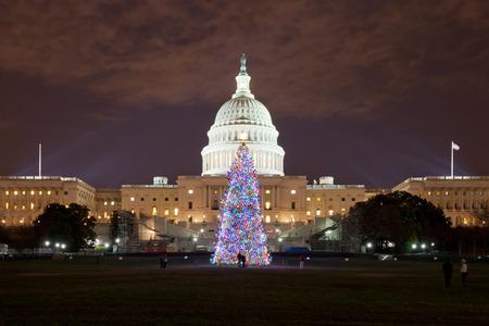 미국 워싱턴 DC 크리스마스 이브의 국회 의사당