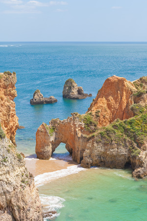 beach landscape: Tres Irmaos Beach in Algarve, Portugal