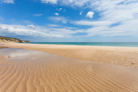 Beach of Salema in Algarve, Portugal Standard-Bild