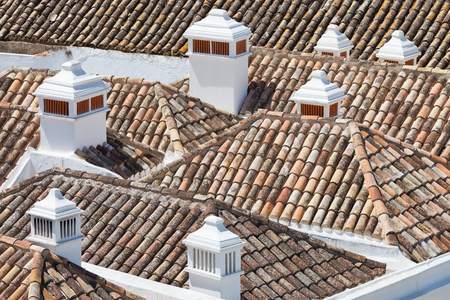 portugal: Roof tops in Faro, Algarve, Portugal Stock Photo