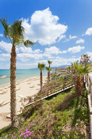 Beach of Hersonissos in Crete, Greece