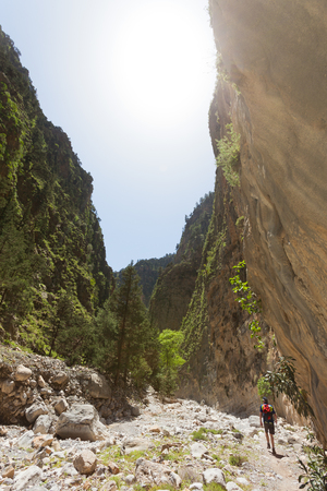 gorge: Hiker in the Samaria Gorge of Crete