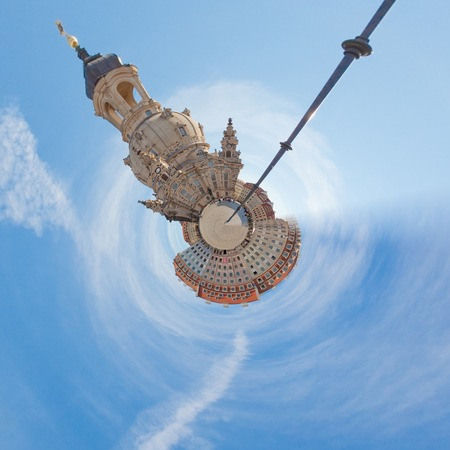 Visiting the inner city of Dresden during sunshine from a tiny world perspective