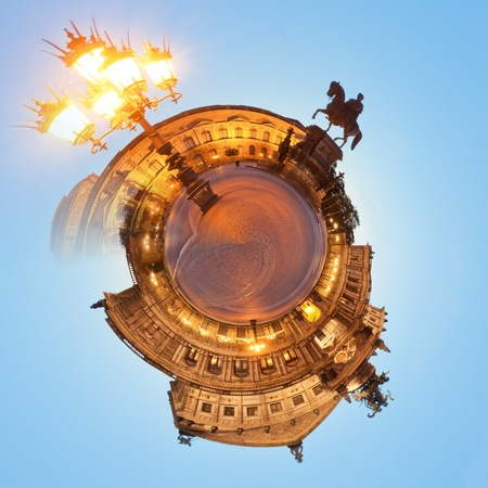 Visiting the Semper Opera of Dresden at night from a tiny world perspective