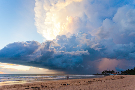 Ahungalla Beach, Sri Lanka, Asia - Marvelous mushroom cloud during sunset at the beach of Ahungalla Stock Photo